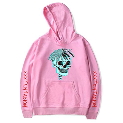 chenpaif Unisex Winter Thicken Plus Size Long Sleeve Hoodies Contrast Color Hair Skull Printed at Front Sweatshirt Hip Hop Rappers Loose Streetwear 4 Colors Pink 2XL -