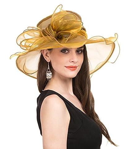 Saferin Women Oganza Summer Sun Hat Beach Church Hat Ascot Race Derby Hat Cocktail Wedding Gold Big