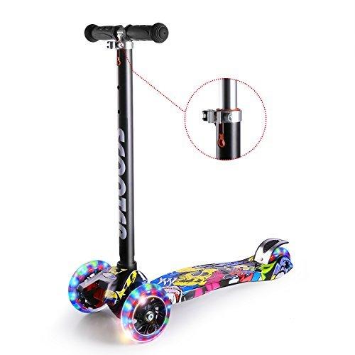 Cozime monopattino graffiti a 3 flash ruote per bambini di 3-10 anni regolabile scooter freestyle pieghevole fino a 70 kg