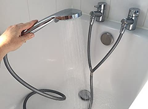 Turn your hot and cold bath / basin taps into an instant shower with this Silver Y Shape Shower Hose. MUST also buy our