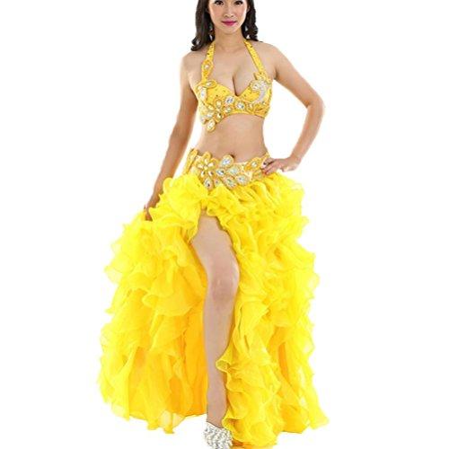 Bauchtanz Set Für Frauen Performance Kostüm Professionel Tanz-Outfit 6 Stück , Yellow , S (Atemberaubendes Set Rock Kleid)