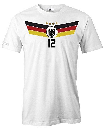 DEUTSCHLAND FAN T-SHIRT EM 2016 - WUNSCHNAME und NUMMER - HERREN - T-SHIRT in Weiss by Jayess Gr. XXXL (2005 Weißes T-shirt)