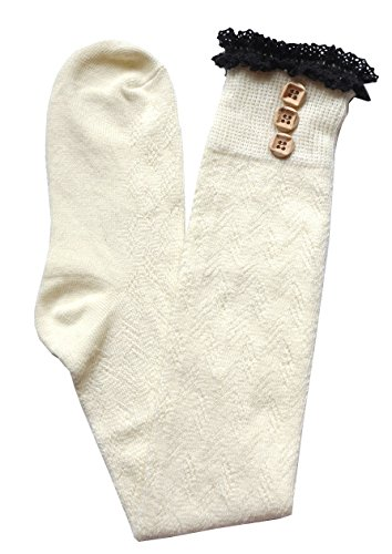 JHosiery Damen Baumwollhäkelarbeit Strümpfe mit Rüschen & Knöpfe (nicht-gerade Weiß) - Weiße Baumwolle Mit Pointelle