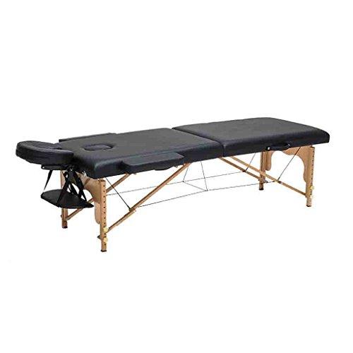 Preisvergleich Produktbild SYXL Folding Massage Bett Einstellbare Massage Portable Home Holz Bett Akupunktur Schönheit Bett Therapie Tattoo Bett (Größe: 186 * 60 cm) (Farbe : SCHWARZ,  größe : 186 * 60cm)