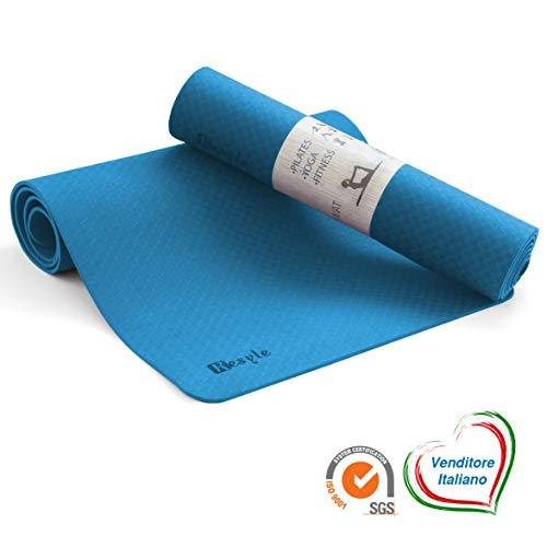 Kesyle® Fitness Mat 2.0 | 100% umweltfreundlich Geruchlos | Fitness-Gymnastikmatte | Yoga-Matte Gymnastik-Yoga-Matte | Dicke und faltbare rutschfeste Matte | Hoch italienisches Design (blau)