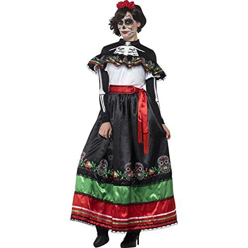 Smiffys 44937X2 - Damen Tag der Toten Senorita Kostüm, Größe: 52-54, mehrfarbig