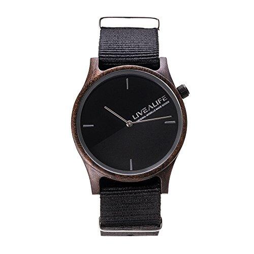 LIVEALIFE Unisex Holzuhr Quarz Uhrwerk Wechselband Nylon schwarz minmalistisches Design silber Damen Herren 38mm