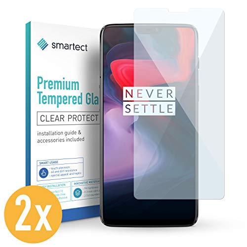 SmarTect 2X Protector de Pantalla de Cristal Templado para OnePlus 6 Lámina Protectora Ultrafina de 0,3mm | Vidrio Robusto con Dureza 9H y Antihuellas Dactilares