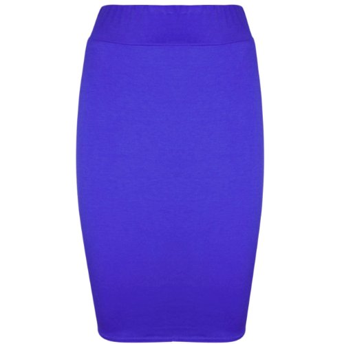 Oops Outlet Damen Bleistiftrock, enganliegend, Stretch, Jersey, einfarbig, Gr. 34-52 Königsblau