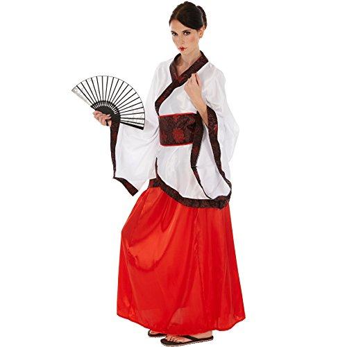 Frauenkostüm Asiatin | Glänzender Satinkimono | Fernöstliche Verkleidung | inkl. Hüftbindegürtel (XL | no. (Für Halloween Ideen Kostüme Paare Hot)