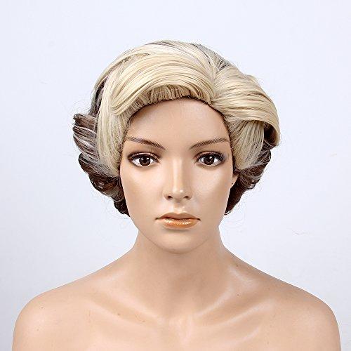 Flip Perücke Blonde (stfantasy kurz Perücken für Frauen Kunsthaar Gerade Hitzebeständig 35,6cm 235g Hochsteckfrisur Perücke peluca gratis Haarnetz +, Clips, Brown Blonde)
