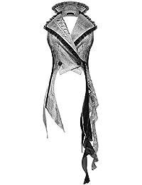 Devil Fashion - Chaleco gótico Punk para Mujer, Color Blanco y Negro, Encaje Envejecido, Estilo Victoriano