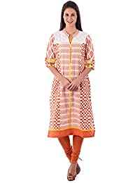 House of Tantrums Orange and White Printed Kurta