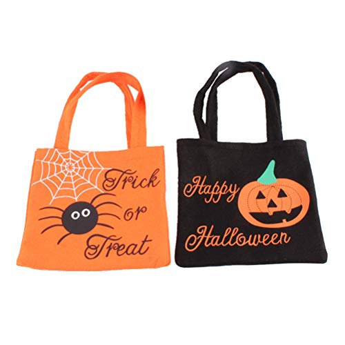 Toyvian Halloween Candy Bag Vlies Geschenk Einkaufstasche Tragbare Cartoon Handtaschenhalter für Kinder 2 Stück -