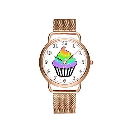 Frauen Uhren Marke Damen Mesh Gürtel ultradünne Uhr wasserdichte Uhr Quarzuhr Weihnachten Nette Regenbogen Cupcake Swirl Icing Mit Streuseln Armbanduhren