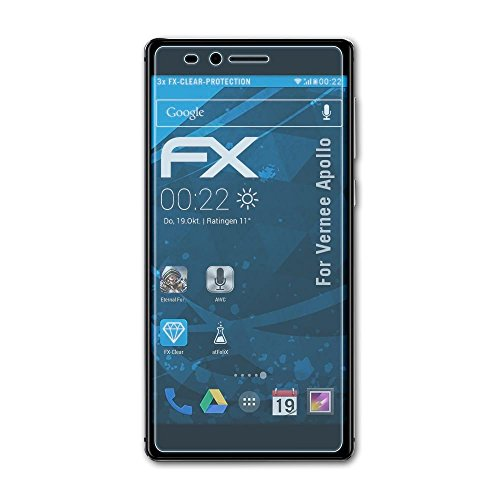 atFolix Schutzfolie kompatibel mit Vernee Apollo Folie, ultraklare FX Bildschirmschutzfolie (3X)