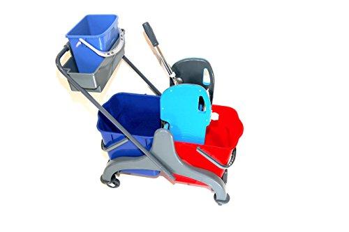 CleanSV® Aura2+ Reinigungswagen mit Ablage und 5 Liter Eimer, Wischwagen, Putzwagen aus Kunststoff, Profi Moppresse, 2 Eimer (rot/blau) und Deichsel, 4 Leichtlaufrollen
