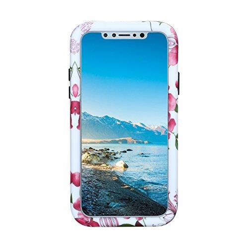 iPhone X Hülle, Heavy Duty Blume Harte Rüstung Anti-Kratzer PU Silikon Handyhülle 3 Layer Stoßfest Etui Shockproof Case Cover Kompletter Schutz Tasche Schutzhülle für Apple iPhone X (Mandala) Blume 1
