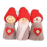 Amosfun 3 Piezas de Navidad Decoraciones Colgantes Cono de Pino Muñeca Colgantes Puerta de Pared Árbol de Navidad Adornos pequeños (Gris)