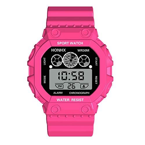 EUCoo Sport Uhr Marke Luxus Drei Augen Analog Digital Sport Led Wasserdichte Leuchtende Armbanduhr(Hot Pink)