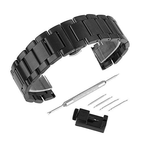 BEWISH 23mm Uhrarmband Edelstahl Ersatzband Solide Metall Uhr Band Riemen Uhrenarmbänder Ersatz Edelstahlschliesse Faltschließe Uhr Armband Smart Watch Wrist Strap Band...