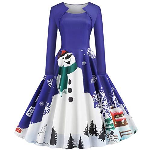 Floweworld Damen Vintage Party Kleider Mode Langarm Weihnachten Schneemann Schneeflocke Gedruckt Plissee Swing Kleider Cocktailkleider