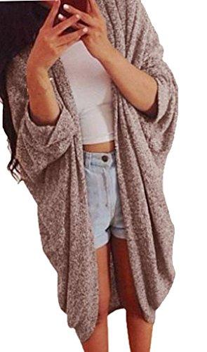 Minetom Donna Casual Maniche Lunghe Jumper Outwear Cappotto del Rivestimento del Knit Cardigan Cachi IT 40