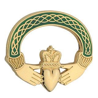 Solvar Claddagh Brooch Gold Plated & Green Made in Ireland