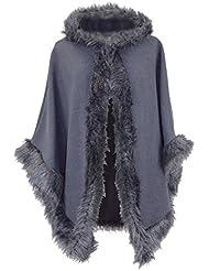 Damen italienisches Design mit Kapuze Lagenlook Schichten Wolle Lana Cape/Poncho Webpelz, One Size, Gr. UK 10-18 Plus