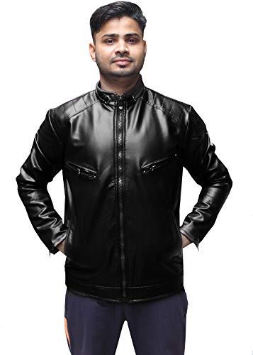 Glamio Men's Full Sleeve Pu Faux Leather Jacket (AABLACKBB_Large Size)