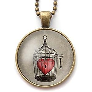 Kette mit cabochon, Herz in einem Käfig