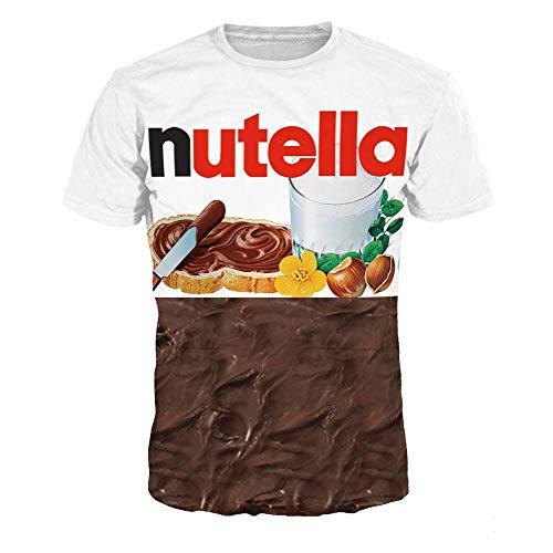 ISAAC ENGLAND Sommer Mode Frauen/Männer 3D T Shirt Nutella Parodie Spaß Lebensechte Lebensmittel Schokoladensauce Harajuku Lebensmittel T-Shirt Mens-XXL, A - Verrückt Mens T-shirt