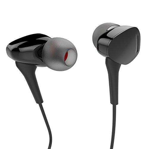 Kopfhörer, Boostek E162 Verdrahtete Ohrhörer mit Mikrofon Schwarz In Linie-Kontrolle In-Ohr Kopfhörer Stereo Kopfhörer