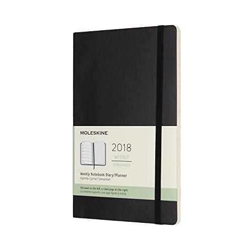 Moleskine Wochen Notizkalender, Taschenkalender, 12 Monate, 2018, Large, A5, Soft Cover, Schwarz