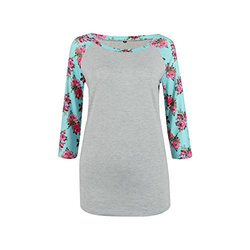 Lylafairy Floral Pullover, Damen Langarm Oberteile Herbst Sweatshirt Rundhals Elegant Casual T-Shirt Tops mit Zierknöpfe (Grau Blumen, 46) (Pullover Floral)