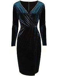 8f7ea6625697a Pretty Kitty Fashion Green Velvet Velour Wrap Split Skirt Long Sleeve  Wiggle Dress
