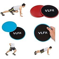 VLFit 2 x Discos Deslizantes Doble Cara Disco Abdominales para Abs Entrenamiento, Hogar, Yoga, Fitness, Pilates, Ejercicios de Cuerpo - para Uso en Alfombra y Pisos Duros (Azul/Negro)