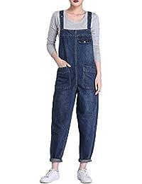 LAEMILIA Salopette Femme en Jeans Combinaison Grande Taille Bodysuit  Pantalon Denim Casual ffcdaa23150