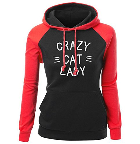 DYF Sweats à Capuche Femme manches longue sangle Hat épaissie poche Imprimer Red Black
