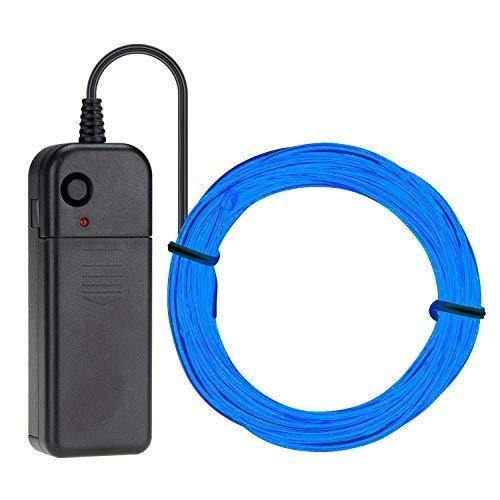 (EL Wire 5M (16.4ft) Neon Beleuchtung Draht Lichtschlauch Leuchtschnur Kabel Wire für Partybeleuchtung Weihnachtsfeiern Disco Party Kinder Halloween Kostüm Kleidung (Blau))