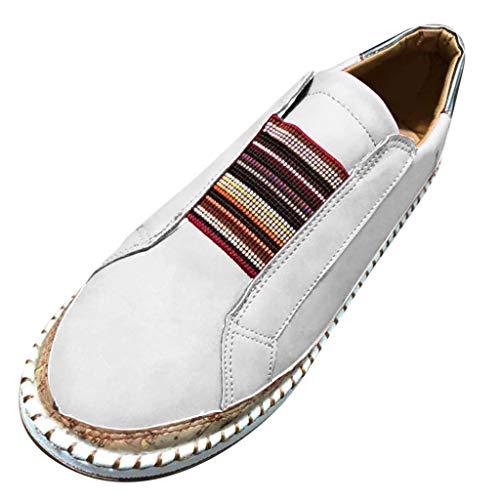 COZOCO Damenmode Freizeitschuhe Aushöhlen Round Toe Slip-on Schuhe Flats Sneakers(weiß,41 EU)