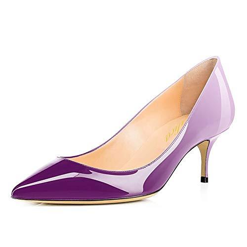 Lutalica Frauen Lackleder Spitzschuh Kitten Heel Hochzeit Kleid Schuhe Büro Pumps Schuhe Weiß Lila Größe 36 EU Lila Womens Heels