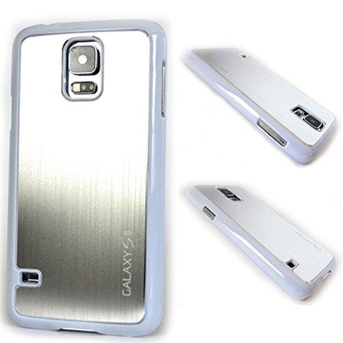 SAM-S5-S-Gravur-silber-Schrift Backcover aus Aluminium mit einem Schriftzug für Samsung Galaxy S5 i9600 in Silber - Cover Schale Hülle Case