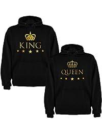 Pack de 2 Sudaderas Negras para Parejas, King y Queen, Dorado