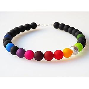 Polariskette Regenbogen schwarz bunt Kette Collier mit großen Polarisperlen