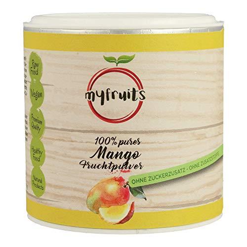 myfruits® Mangopulver - ZUM EINFÜHRUNGSPREIS - ohne Zusätze, zu 100% aus Mango, gefriergetrocknet, Fruchtpulver für Smoothie, Shakes & Joghurt (70g)