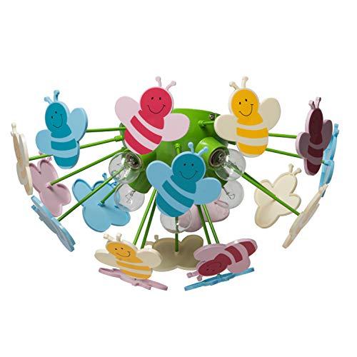MW-Light 365015105 Deckenleuchte Kinderleuchter Bienen Mehrfarbig Kunstsoff Umweltfreundlich Kinderzimmer E14 5 Flammig x 40W 230V
