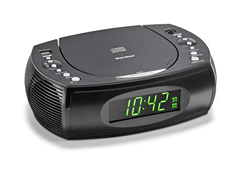 Karcher UR 1308 Radiowecker mit CD Player und UKW Radio (20 Senderspeicher) - Wecker mit Dual-Alarm, USB-Charger & Batterie Backup Funktion - Cd-player Radio Uhr