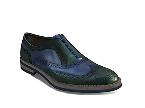 DIS - Da Vinci - Men's Oxford Wing Brogue (Brushed Green, 40.5)