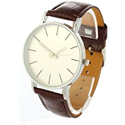 Gleader Brown Leather Band Quartz Movement Bracelet Wristwatch Wrist Watch Mens [Watch]